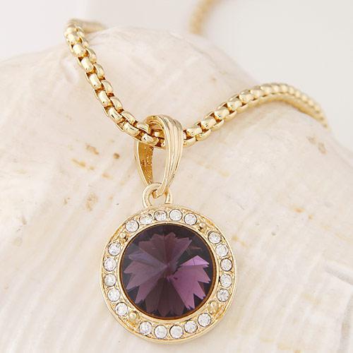 Кулон Круг фиолетовый золото  P003272
