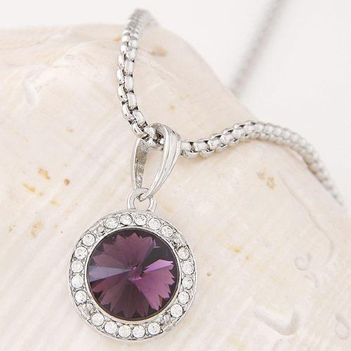 Кулон Круг фиолетовый серебро  P003278