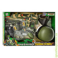 Набор военного каска, маска, автомат-трещетка