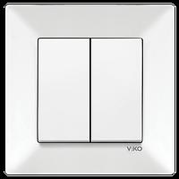 Вимикач двухклавішний Viko Meridian білий