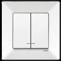 Вимикач двухклавішний з підсвіткою Viko Meridian білий