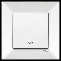 Вимикач реверсний (проміжний) Viko Meridian білий