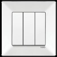 Вимикач 3-х клавішний Viko Meridian білий