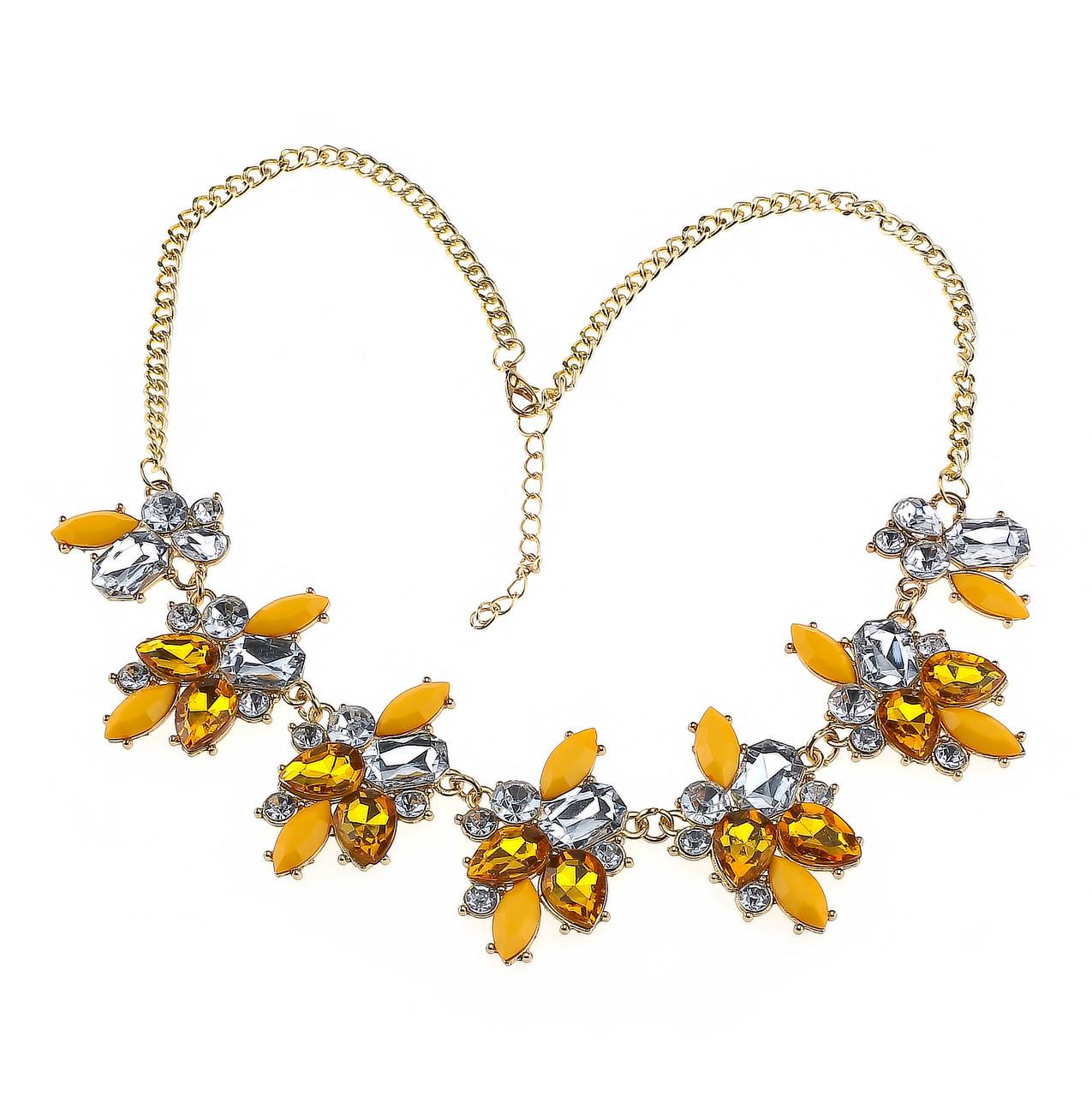 Колье Желтые цветы P004346