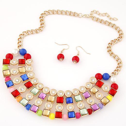 Набор украшений Квадратные кристаллы цветные P004581
