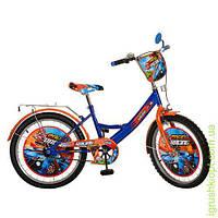 Велосипед детский PROF1 мульт 20д. Racing, оранж-синий, зеркало, звонок.