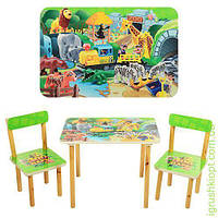 Столик деревянный, 60-40см, 2 стульчика, конструктор, в кор-ке