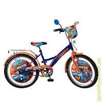 Велосипед детский PROF1 мульт 20д. Racing, оранж-синий, зеркало, звонок