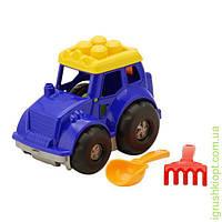 """Трактор """"Кузнечик"""" №1: трактор, лопатка и грабельки (ЛГ3) COLORplast"""