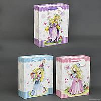 """Подарочный пакет 555-777 (480) 4 вида """"Принцессы"""", 3D с блёстками, СРЕДНИЙ"""