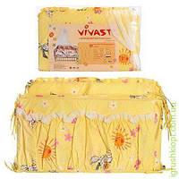 Постельное белье 4предм(защита,навол,подод,простынь),желтый,заяц,в кульке