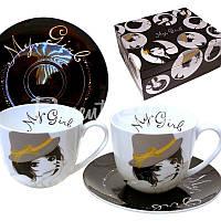 Чайный набор фарфор «Таинственная» : 2 чашки на 300 мл. с блюдцами