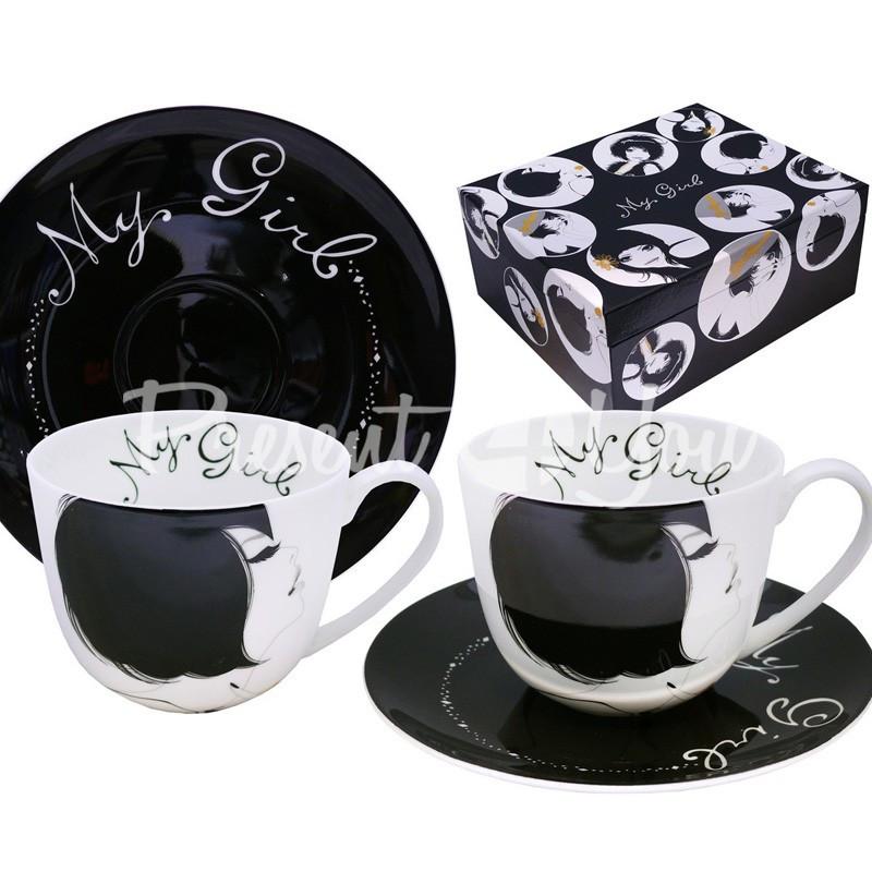 Чайный набор фарфор «Милая» : 2 чашки на 300 мл. с блюдцами