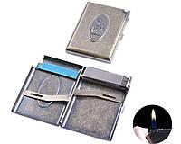 """Портсигар в подарочной упаковке с зажигалкой на 20 сигарет """"Всадник"""" №3306-3"""