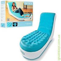 Велюр кресло-шезлонг, цвет бирюзовый, до 100кг, в кор-ке, INTEX