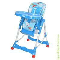 Стульчик для кормления, корзина, колеса, самолет, голубой, в кор-ке