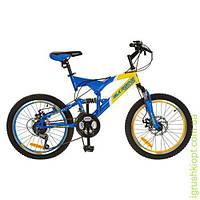 Велосипед 20д. сталь,желто-голубой, в кор-ке