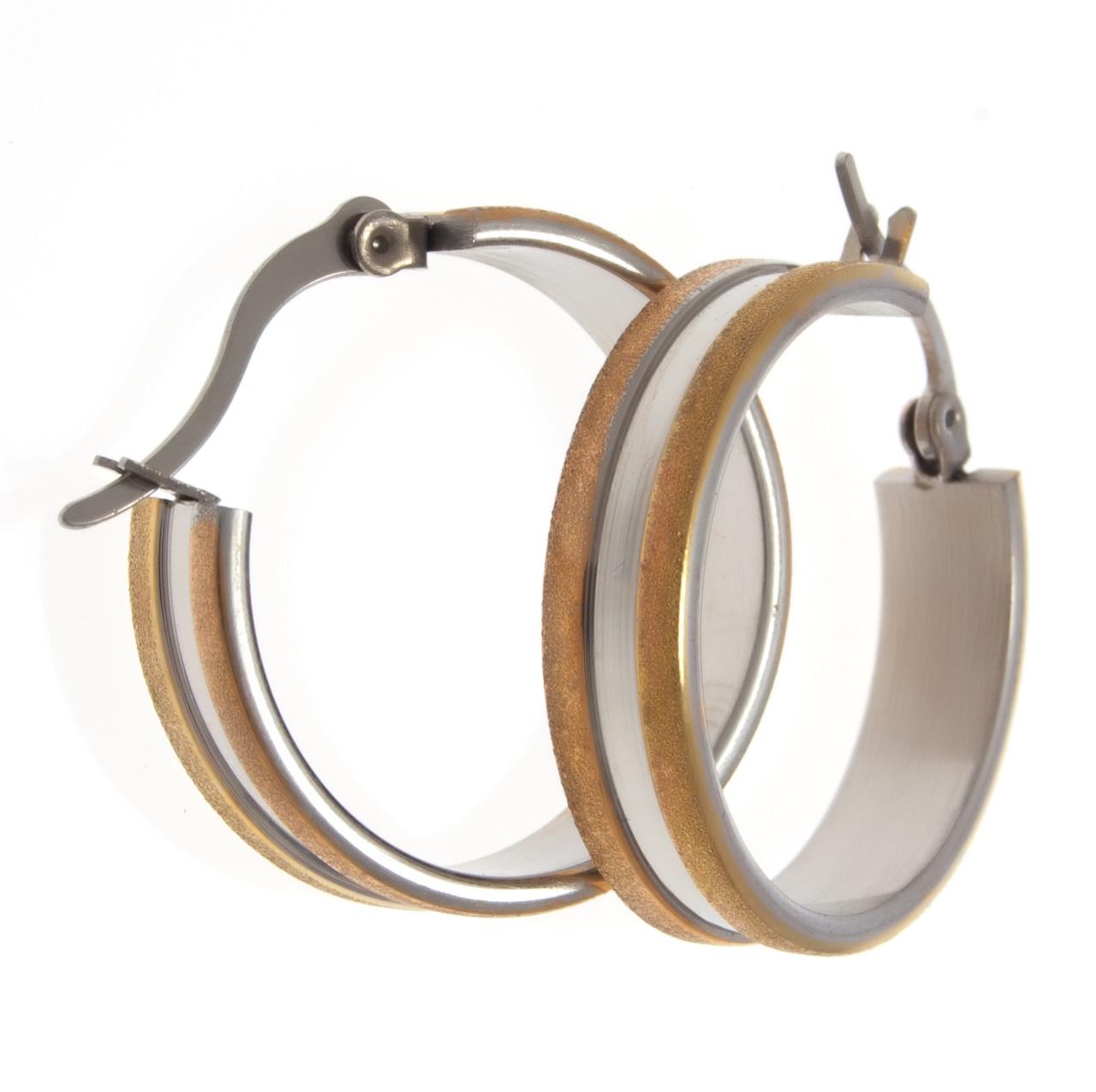 Серьги кольца под серебро с золотыми вставками  S001014
