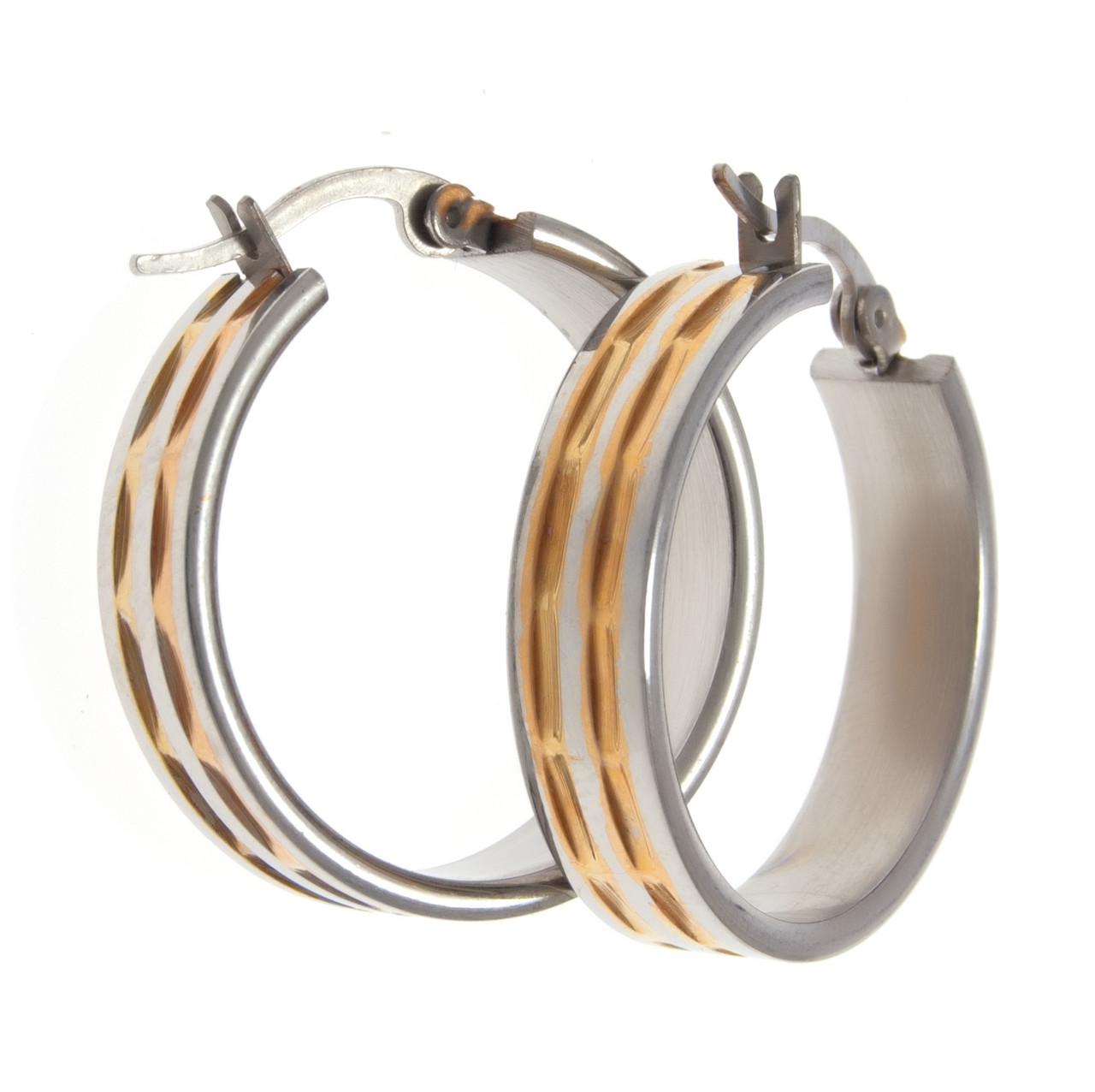 Серьги кольца под серебро с золотыми вставками  S001012