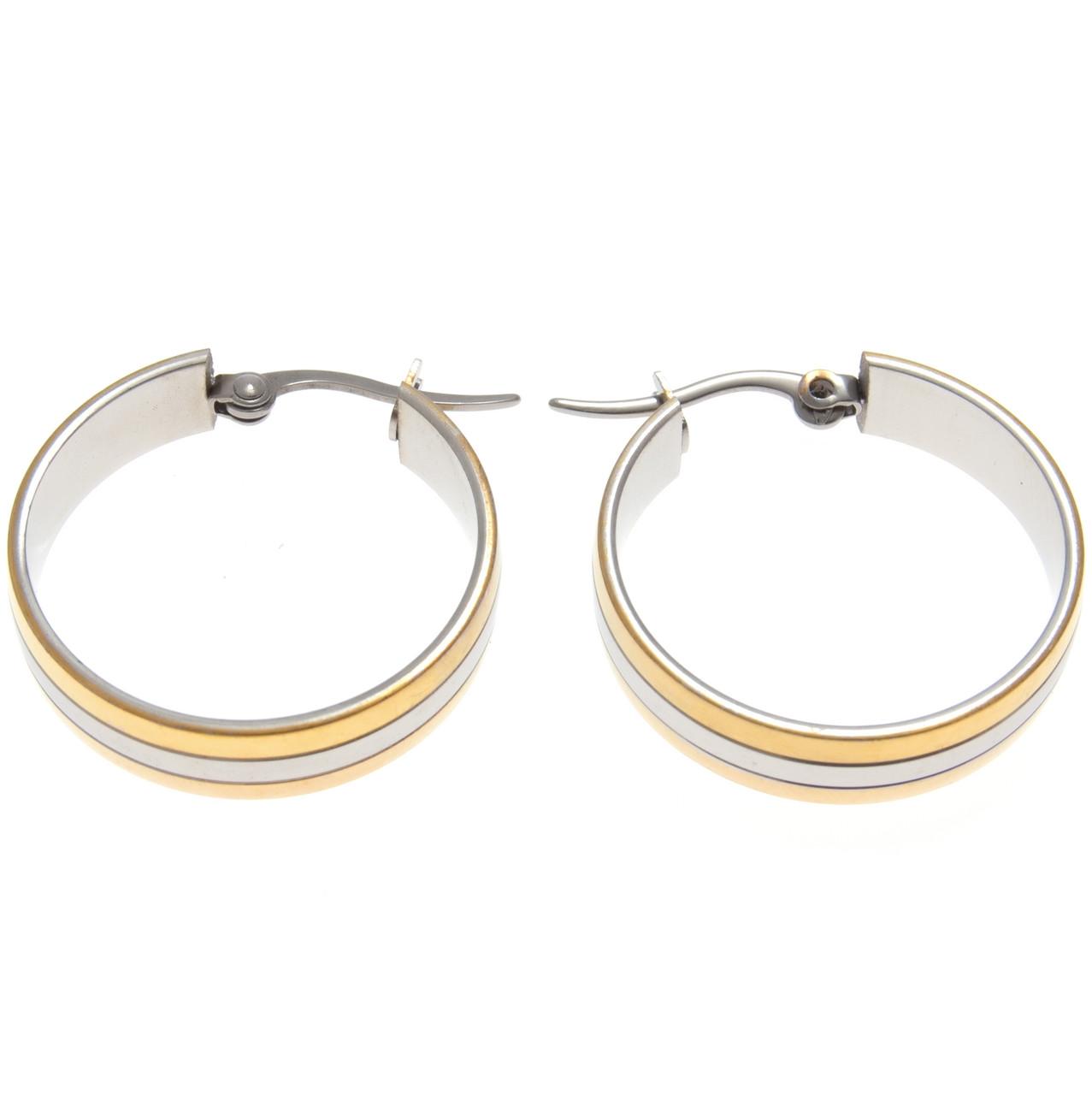 Серьги кольца под серебро с золотыми вставками S001010