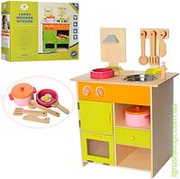 Деревянная игрушка Кухня 45-28,5-68,5см, плита, мойка, посуда, в кор-ке