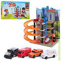 Гараж многоэтажная парковка - 5 этажей, лифт, спиральный съезд, парковка, машинки 4шт - 8,5см