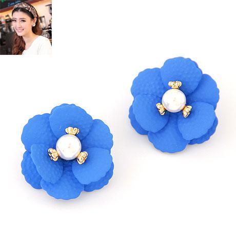 Серьги пусеты Королевский цветок синие S001478