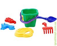 """Песочный набор """"Колокольчик"""" №1: ведёрко, сито, лопатка и грабельки (ЛГ4) и три пасочки (П3) COLORplast"""