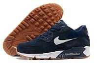Nike Air Max 90 Женские кроссовки темно-синие на меху