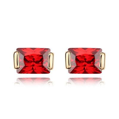 Серьги Прямоугольные кристаллы красные S001654