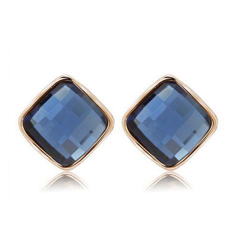 Серьги Синий кристалл в виде ромба S002805