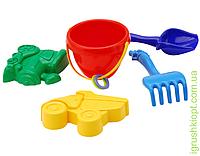 """Песочный набор """"Кувшинка"""" №2: ведёрко, лопатка и грабельки (ЛГ4) и две большие пасочки (П4) COLORplast"""