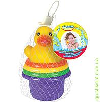 """Пирамидка-стаканчики с брыгзалкой для ванной """"Утенок"""", 5 элементов, 9м+, PS"""
