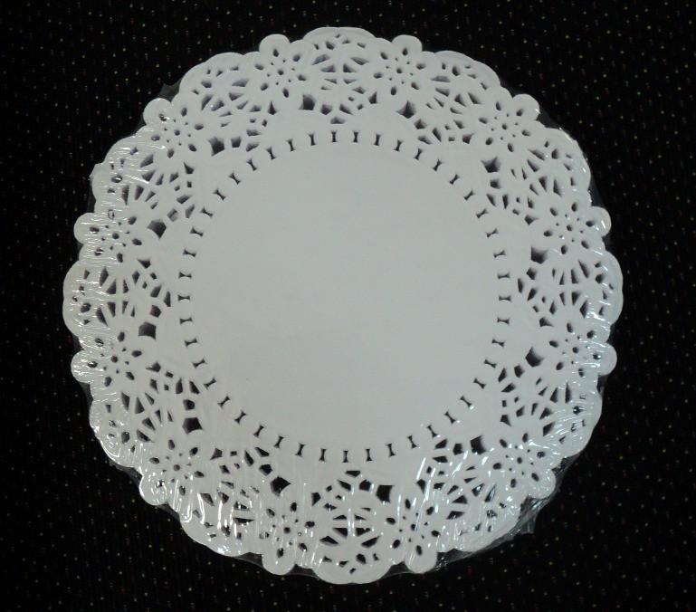 Салфетка ажурная круглая белая d15,3см.(код 03269)