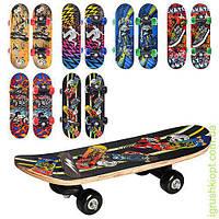 Скейт детский, размер доски 43-13см (7 слоев китайского клена), верх рисунок, пластик. подвеска, цветные колеса ПВХ 45 мм, до 20кг, разобранные, 6