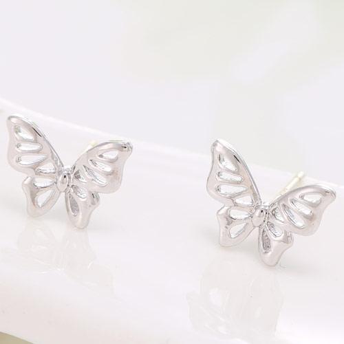 Сережки пусеты Бабочки гладкие под серебро S003507