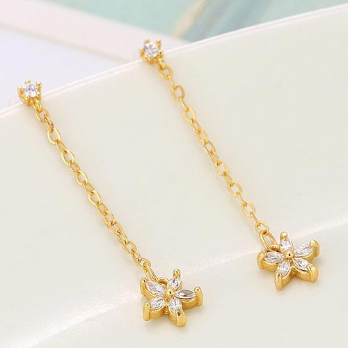 Сережки длинные с цветком на цепочке желтое золото (бижутерия) S003509