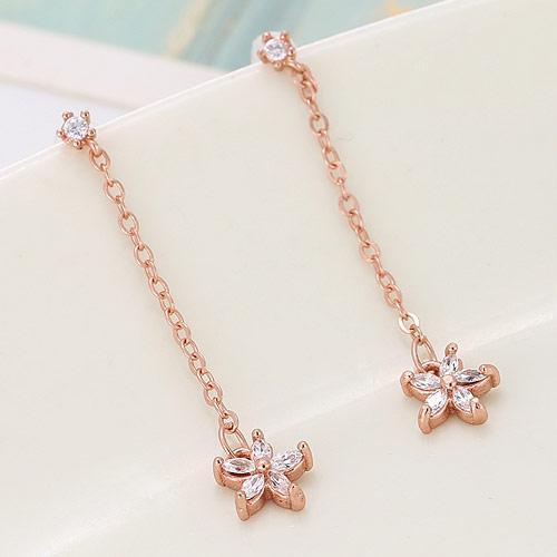 Сережки длинные с цветком на цепочке розовое золото (бижутерия) S00351