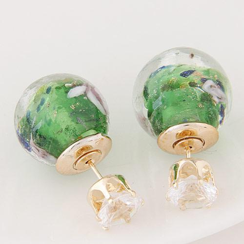 Серьги шарики зеленые S003643