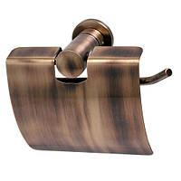 Держатель для туалетной бумаги с крышкой Aqualine бронза