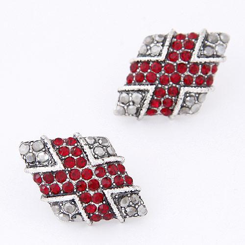 Сережки ромбы с красными камнями S003768