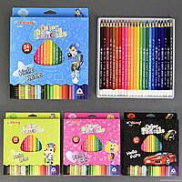 Карандаши цветные 01397 (144) 4 вида, 24шт в упаковке, 24 цвета
