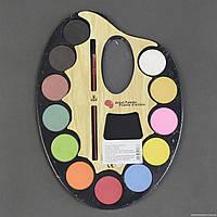 Краски акварельные 01437 (96) 12 цветов, с кисточкой, в кульке