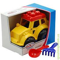 """Трактор """"Кузнечик"""" №4: трактор, лопатка и грабельки (ЛГ3) COLORplast"""