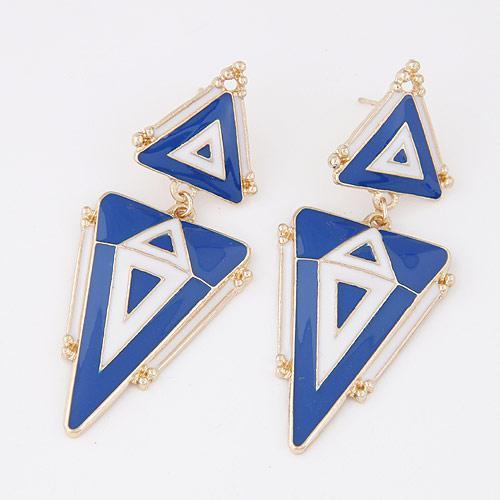Серьги длинные Синие треугольники S004443