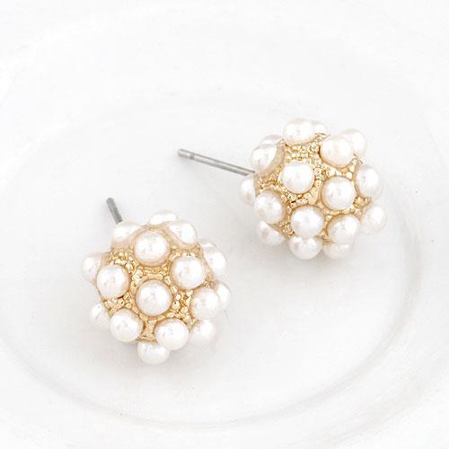 Серьги шарики с маленькими белыми бусинами S004450