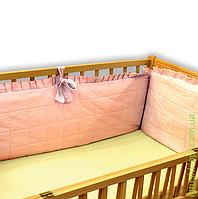 Мягкий бортик ( 40 см) съёмный чехол однотонный (цв. розовый)