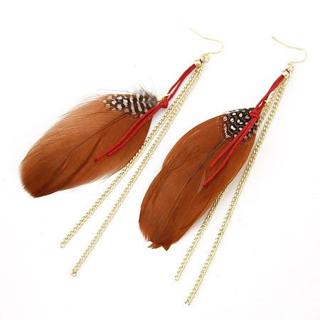 Серьги с перьями коричневыми и золотыми цепочками S004774