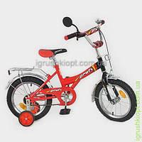 """Велосипед PROFI детский 14"""" красно-черный, звонок, зеркало, приставные колеса"""