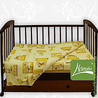 Комплект постельного белья бязь голд в кроватку , цв.голуб.с рисунком